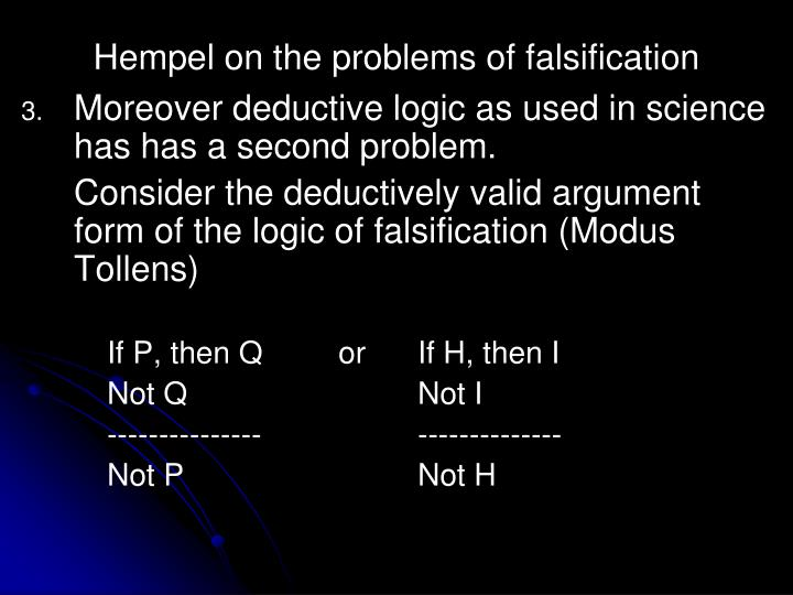 Hempel on the problems of falsification