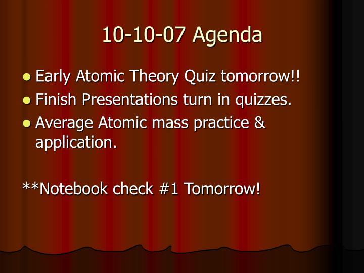 10-10-07 Agenda