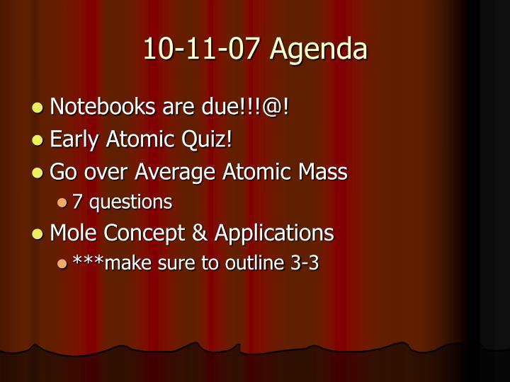 10-11-07 Agenda