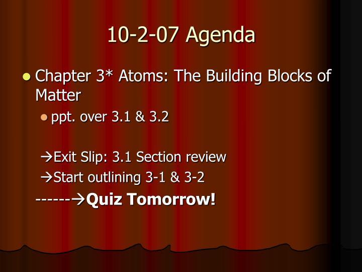 10-2-07 Agenda
