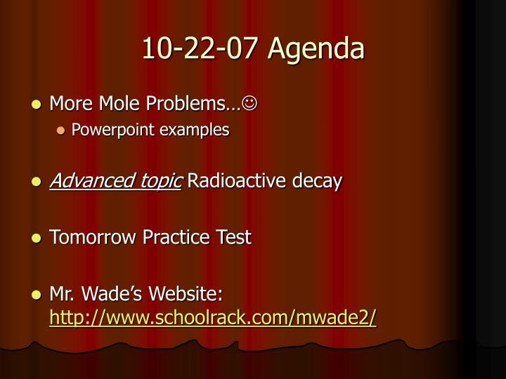 10-22-07 Agenda