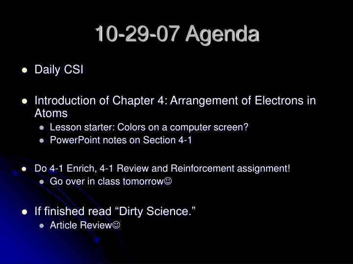 10-29-07 Agenda