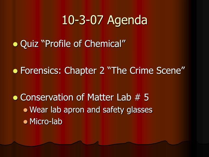 10-3-07 Agenda