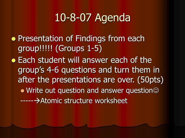 10-8-07 Agenda