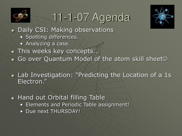 11-1-07 Agenda