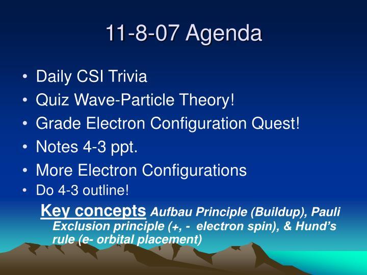 11-8-07 Agenda