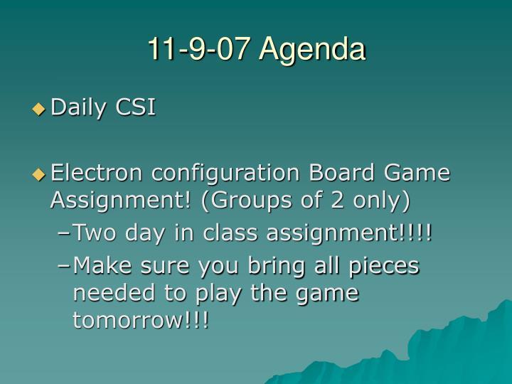 11-9-07 Agenda