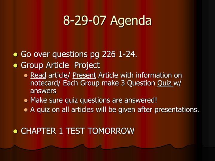 8-29-07 Agenda