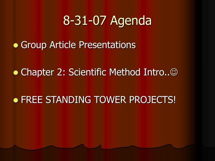 8-31-07 Agenda