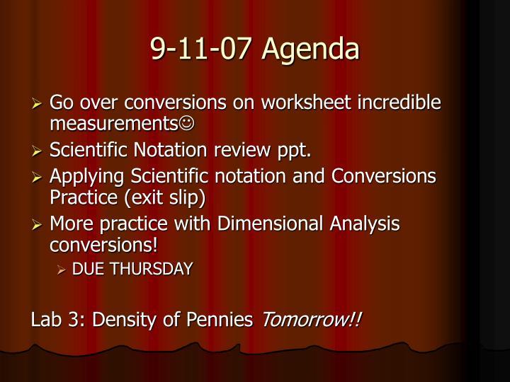 9-11-07 Agenda