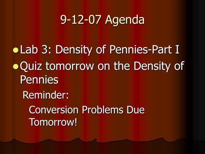 9-12-07 Agenda