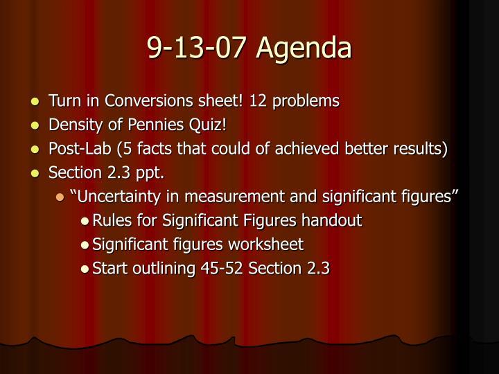9-13-07 Agenda