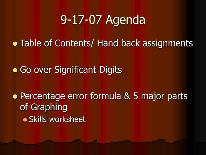 9-17-07 Agenda
