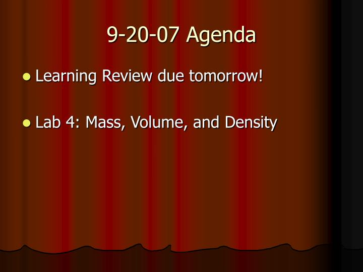 9-20-07 Agenda
