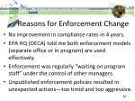 reasons for enforcement change