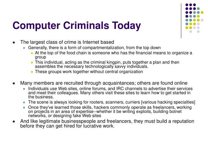 Computer Criminals Today