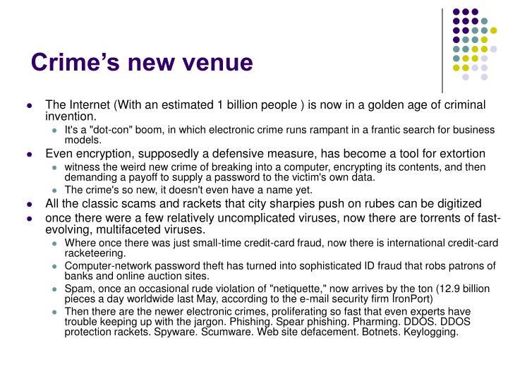 Crime's new venue