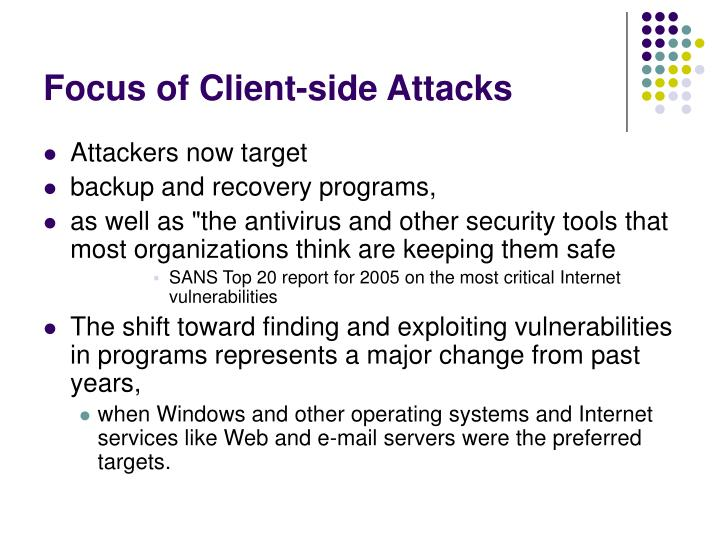 Focus of Client-side Attacks