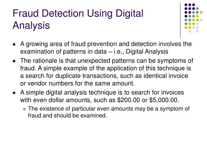 Fraud Detection Using Digital Analysis