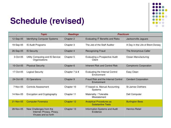 Schedule revised