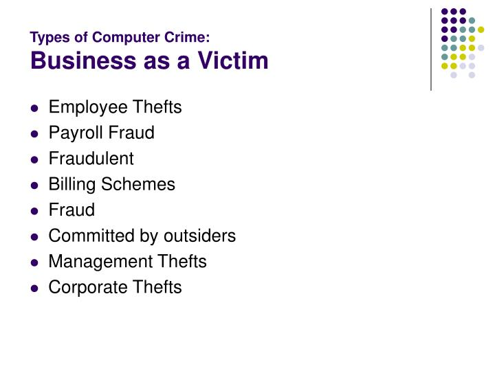 Types of Computer Crime: