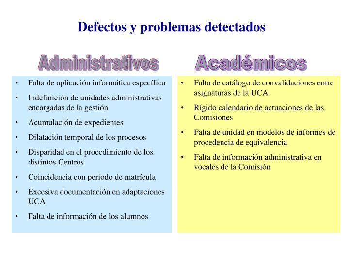 Defectos y problemas detectados