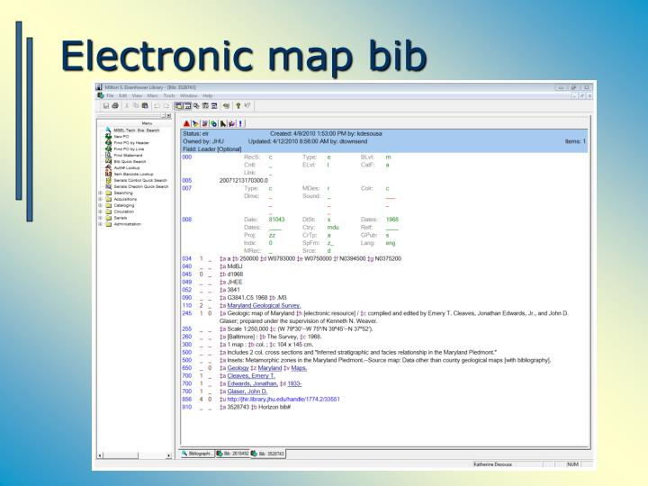 Electronic map bib