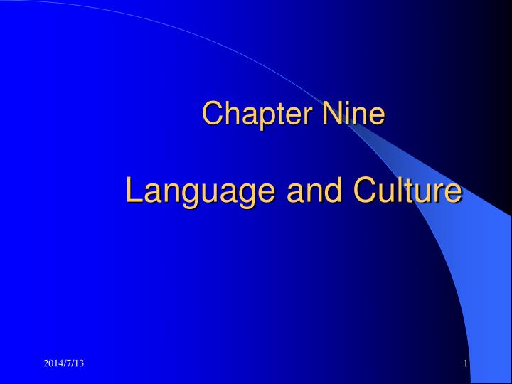 chapter nine language and culture n.