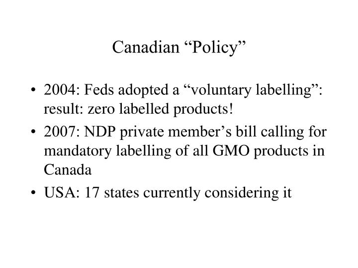 """Canadian """"Policy"""""""