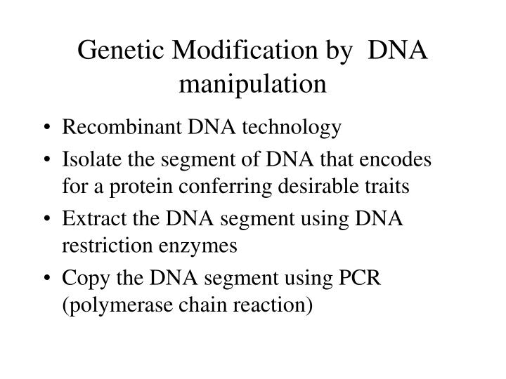 Genetic Modification by  DNA manipulation