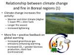 relationship between climate change and fire in boreal regions 1