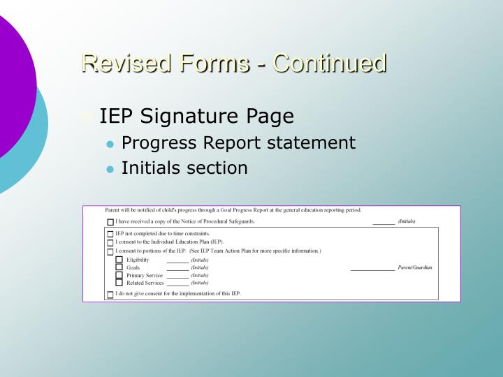 Revised forms continued