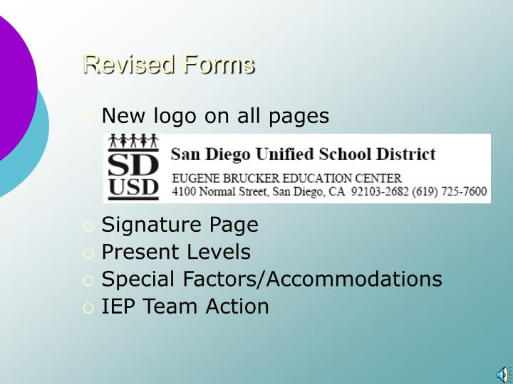Revised forms