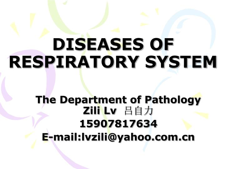 diseases of respiratory system n.