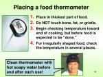 placing a food thermometer