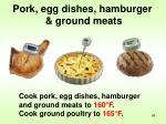 pork egg dishes hamburger ground meats