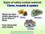 signs of safely cooked seafood clams mussels oysters