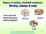 signs of safely cooked seafood shrimp lobster crab