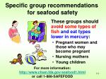 specific group recommendations for seafood safety