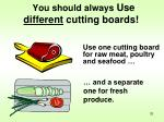 you should always use different cutting boards