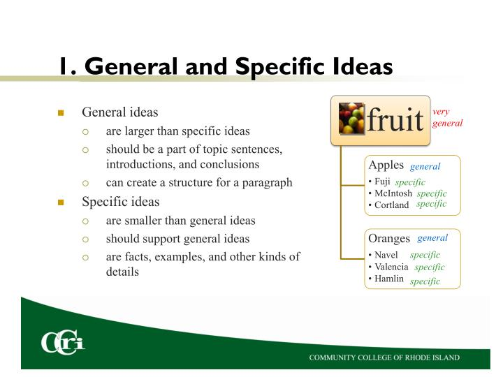 1 general and specific ideas