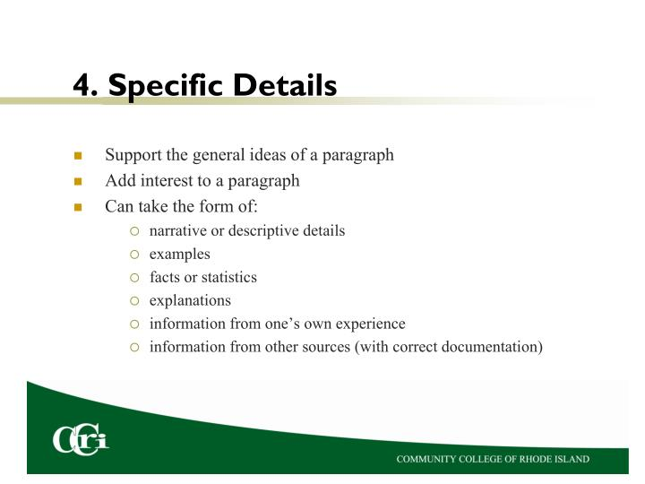 4. Specific Details