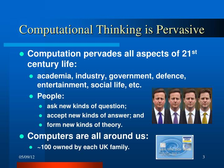 Computational thinking is pervasive