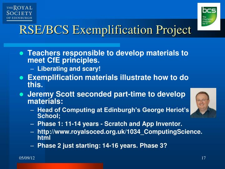 RSE/BCS Exemplification Project