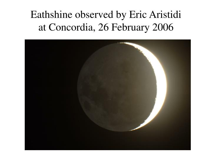 Eathshine observed by Eric Aristidi