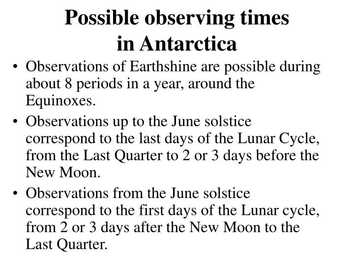 Possible observing times