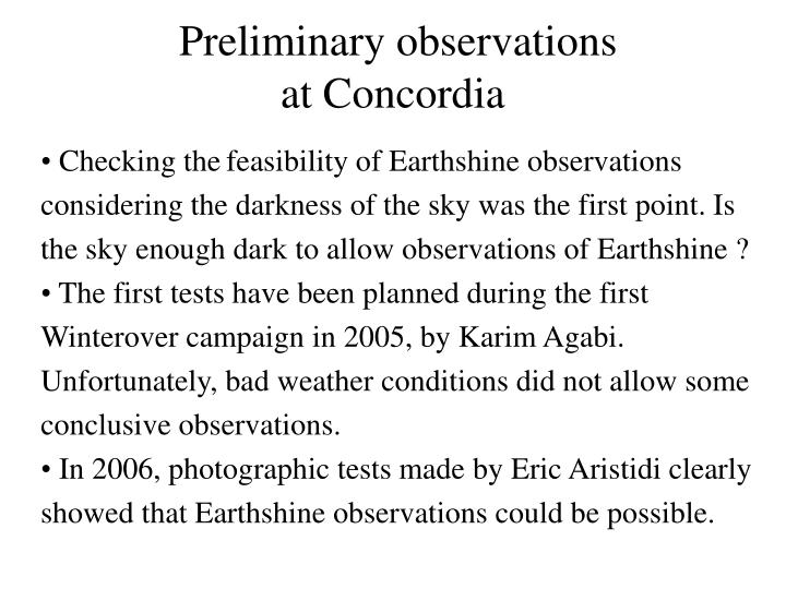 Preliminary observations
