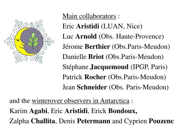 Main collaborators