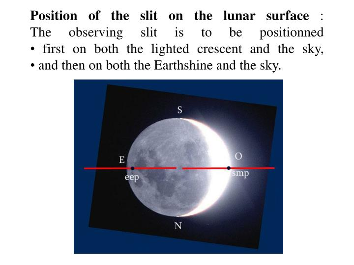 Position of the slit on the lunar surface