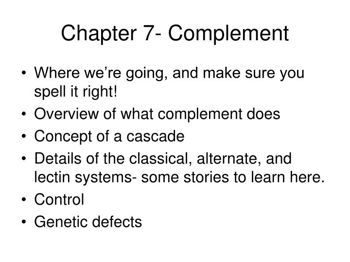 chapter 7 complement n.